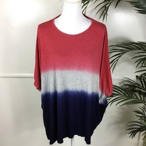 Lane Bryant Red Blue Ombré Top Womens 18/20